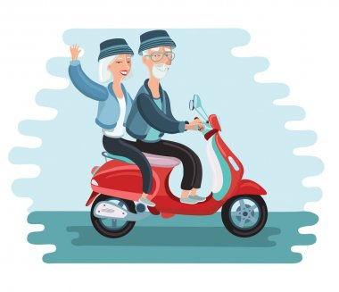 Old people driving scooter vector illustration. Image of pagoda in Asia. Illustration of modern old people lifestyle - happy, smiling, active, traveling