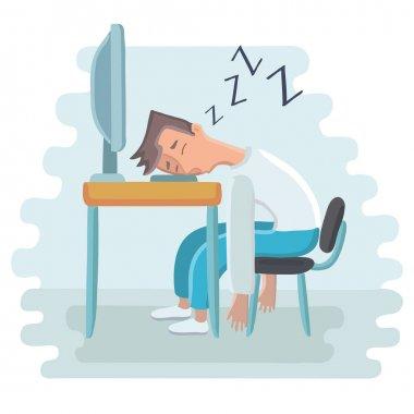 Tired employee sleeping at workplace on laptop keyboard.