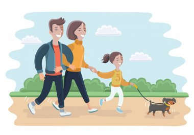 Illustration of a Family Playing with Their Dog