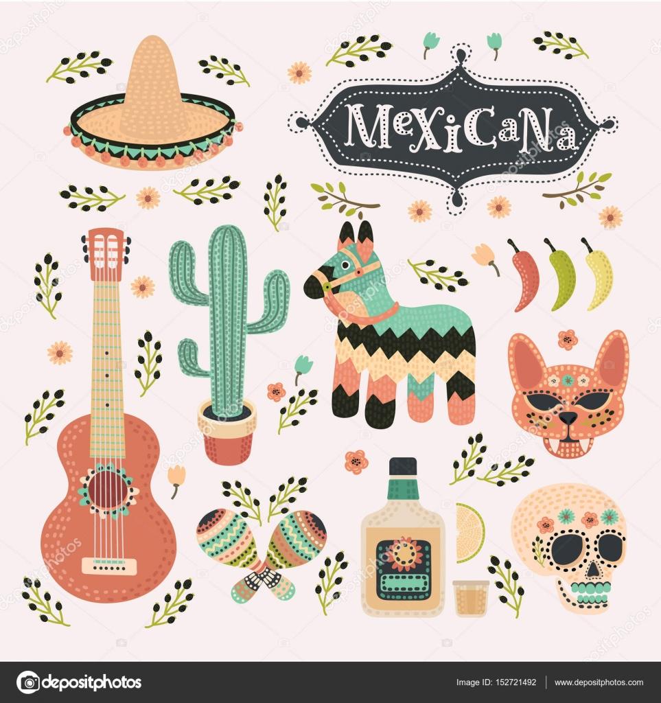 Meixican En Color De La Vendimia Icono De Fiesta Mexicana