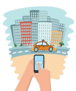 Hand holding mobile smart phone with app search taxi, service application.