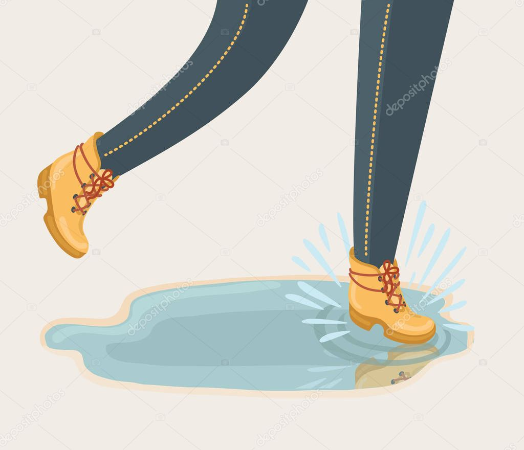 Illustration of walking through puddle and splashig isolated