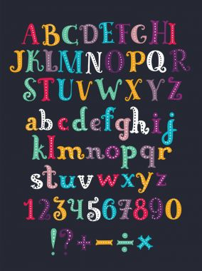 Vector color cartoon serif alphabet. Hand drawn letters isolated on dark background. Colorful vector illustration. Design elements for scrapbooking.