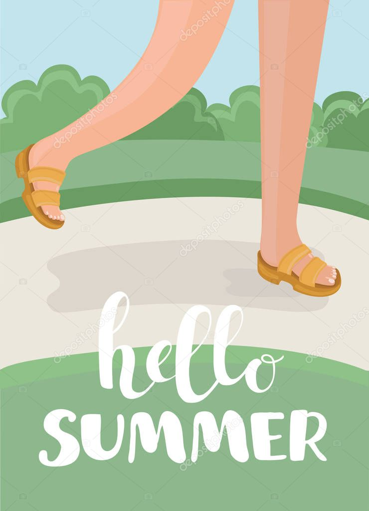 Happy family on summer vacation. Hello summer design concept. Vector illustration