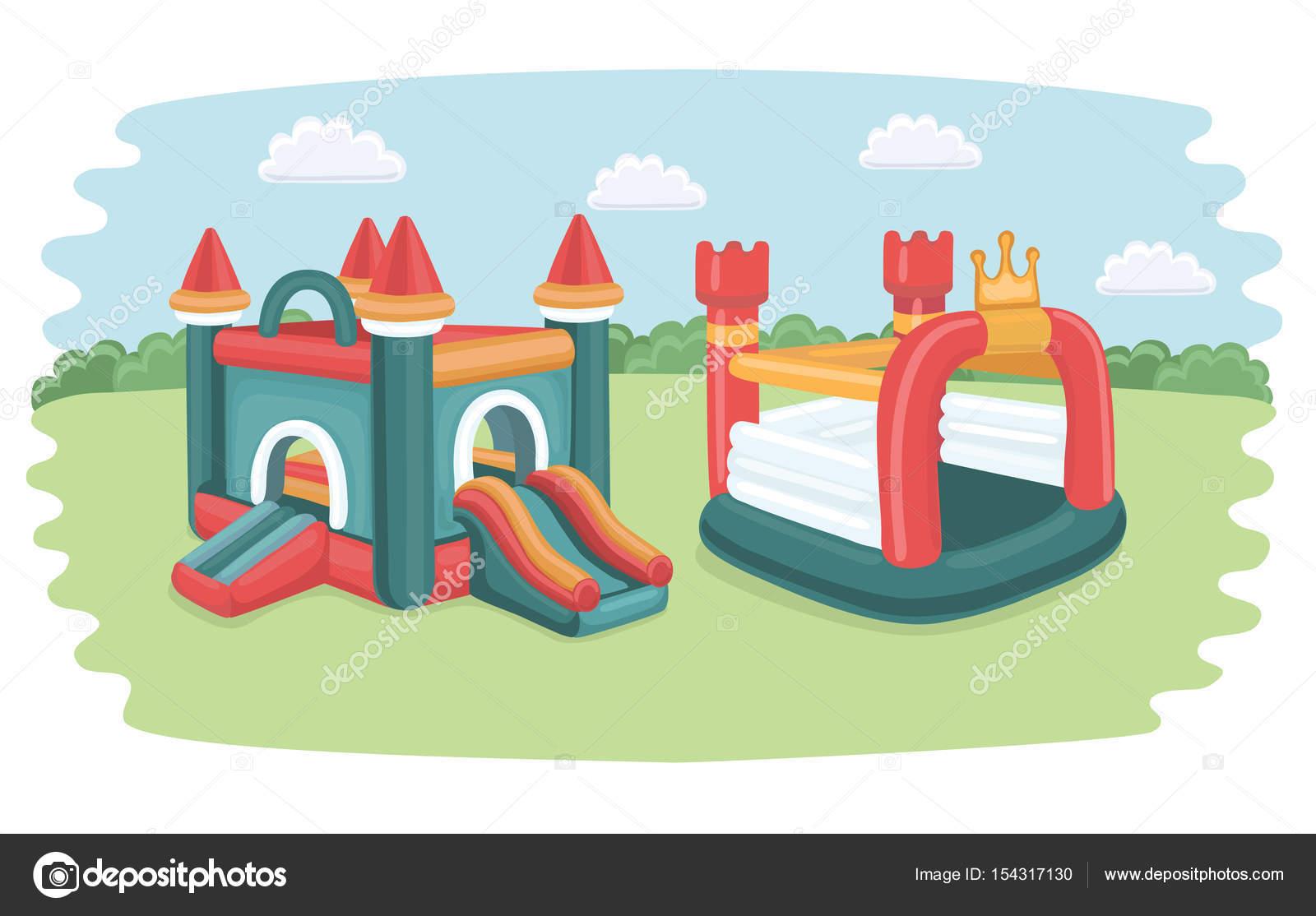 Im genes inflables para ni os cartel de vector con dos for Accesorios para piscinas inflables