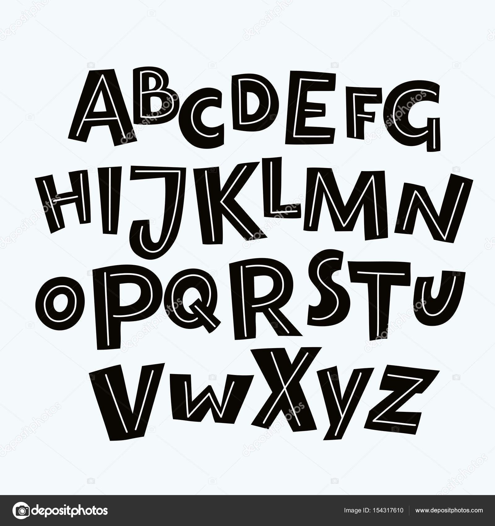 Alphabet De Dessin Animé Noir Et Blanc Sur Fond Blanc