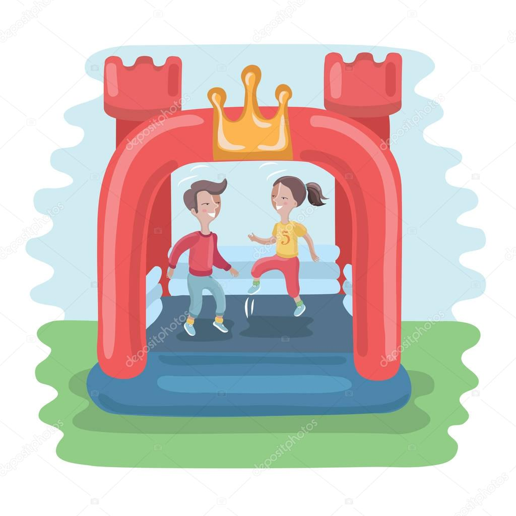 Kids jumping in colorful small air bouncer inflatable trampoline castle on the meadow