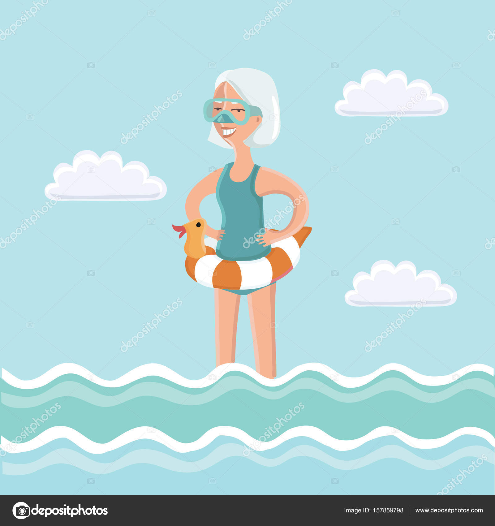 Donna anziana in piedi in acqua di mare con mascherina di for Suo e suo bagno
