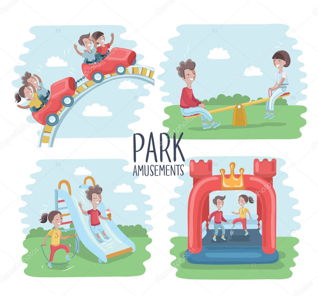 Playground infographic elements vector illustration, children play on the outdoor