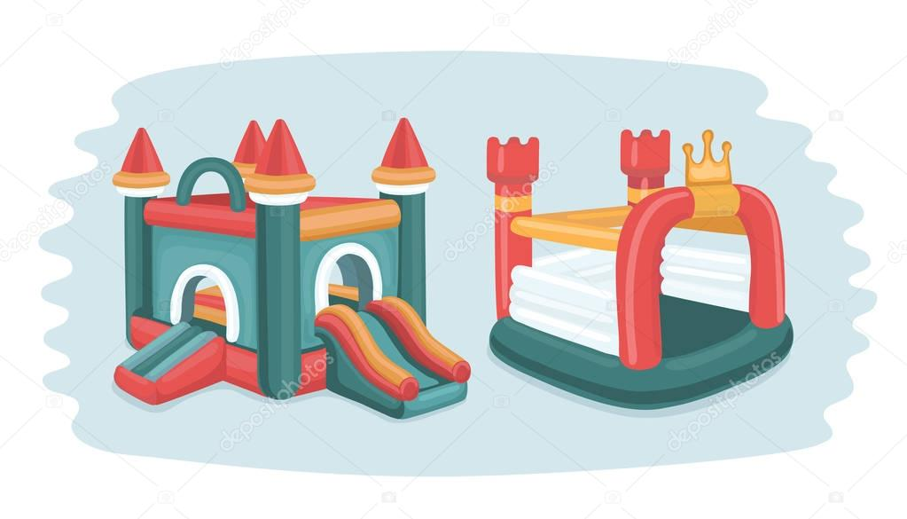 illustration of two inflatable castles trampoline in playground in park.  Isolated objects.