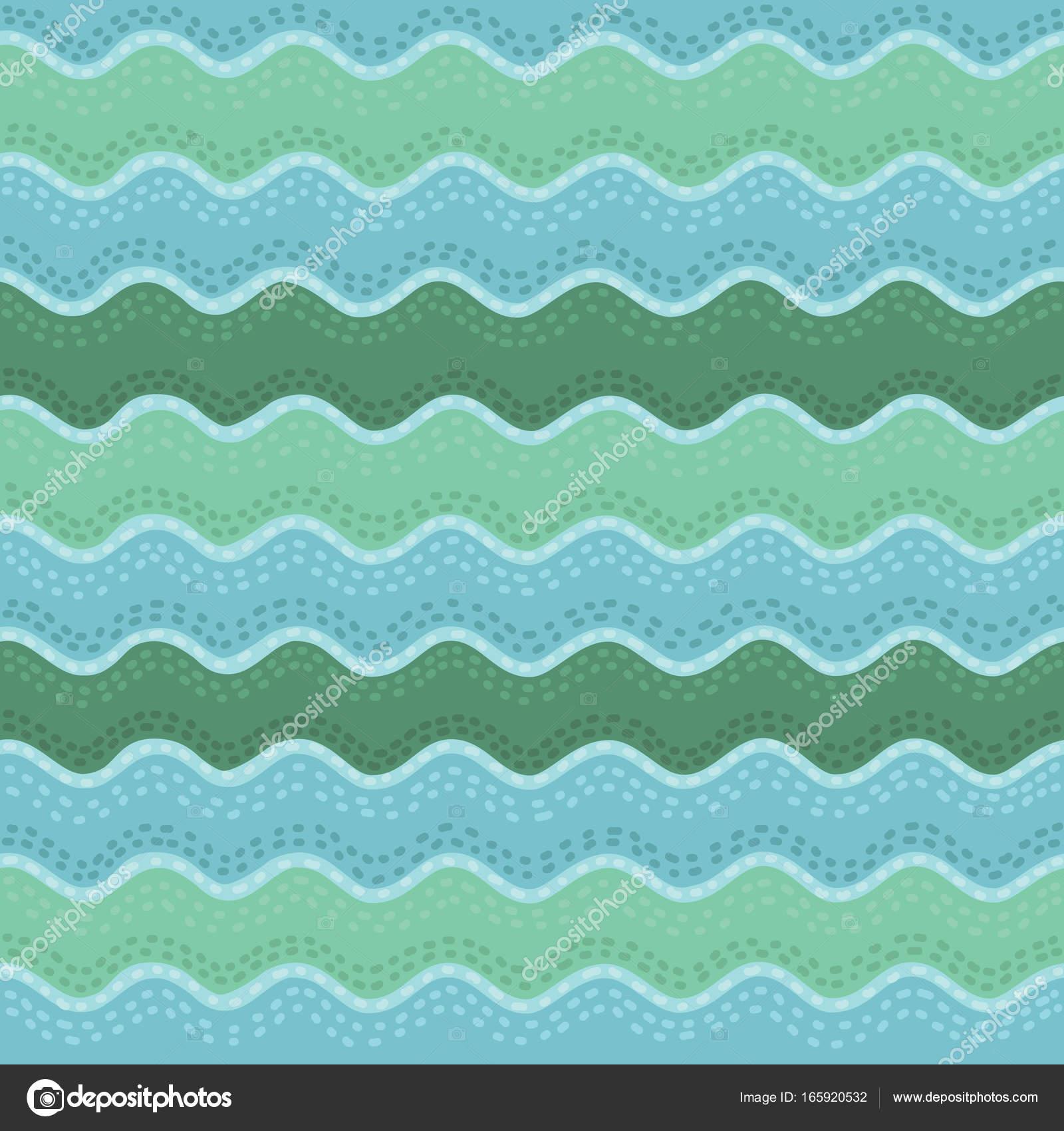 Patrón dibujado a mano de la onda transparente, olas de fondo ...