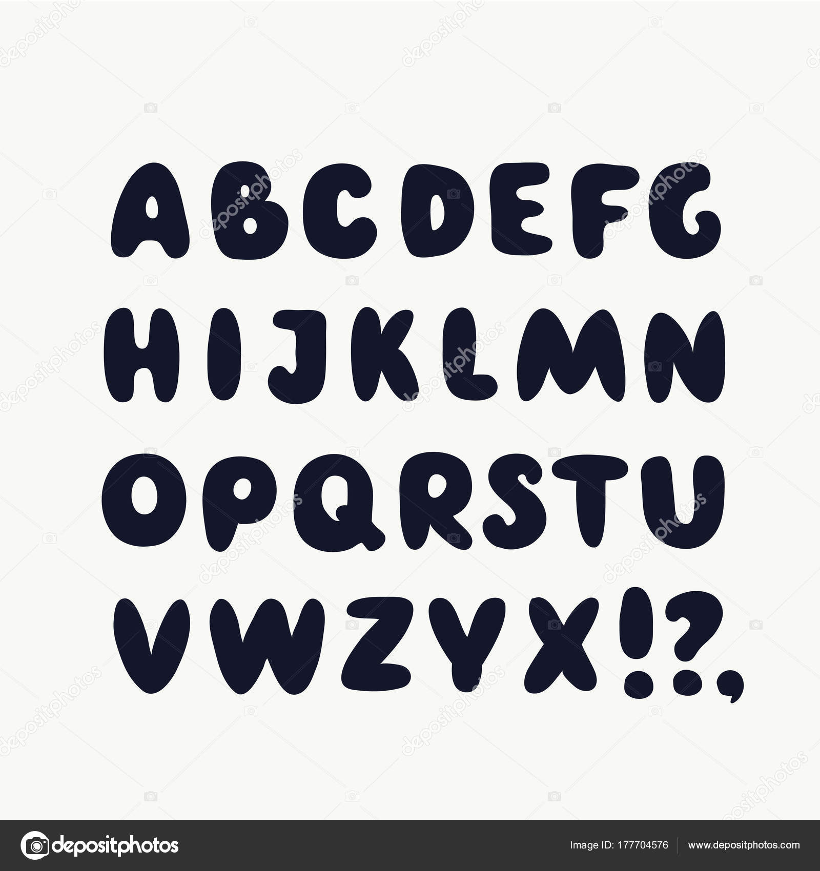Creative Big Thick Fat White Letters Isolated On Black Background Bold Font