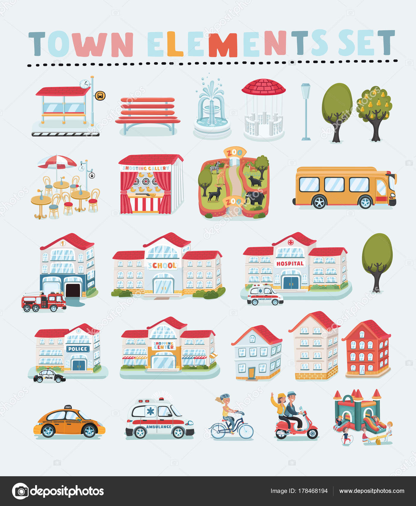 vector set of cartoon town map creator house constructor house cafe shop infrastructure transport village and countryside element - House Map Creator