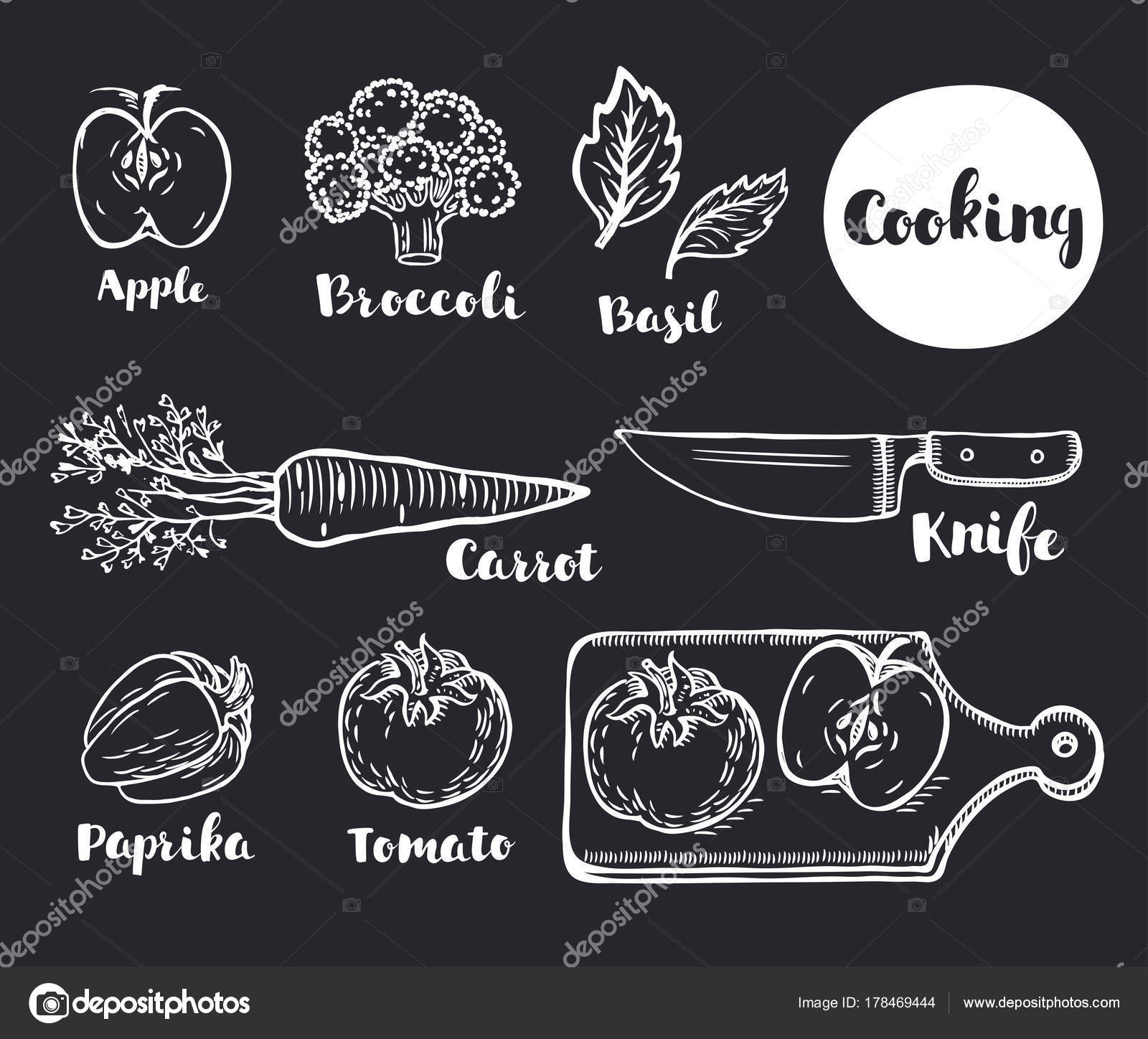 Vector Cartoon Illustartion Of Vegetables Eco Vegan Set Chalk Hand Outline Drawn Doodle Style Lettering Names By Cosmaa