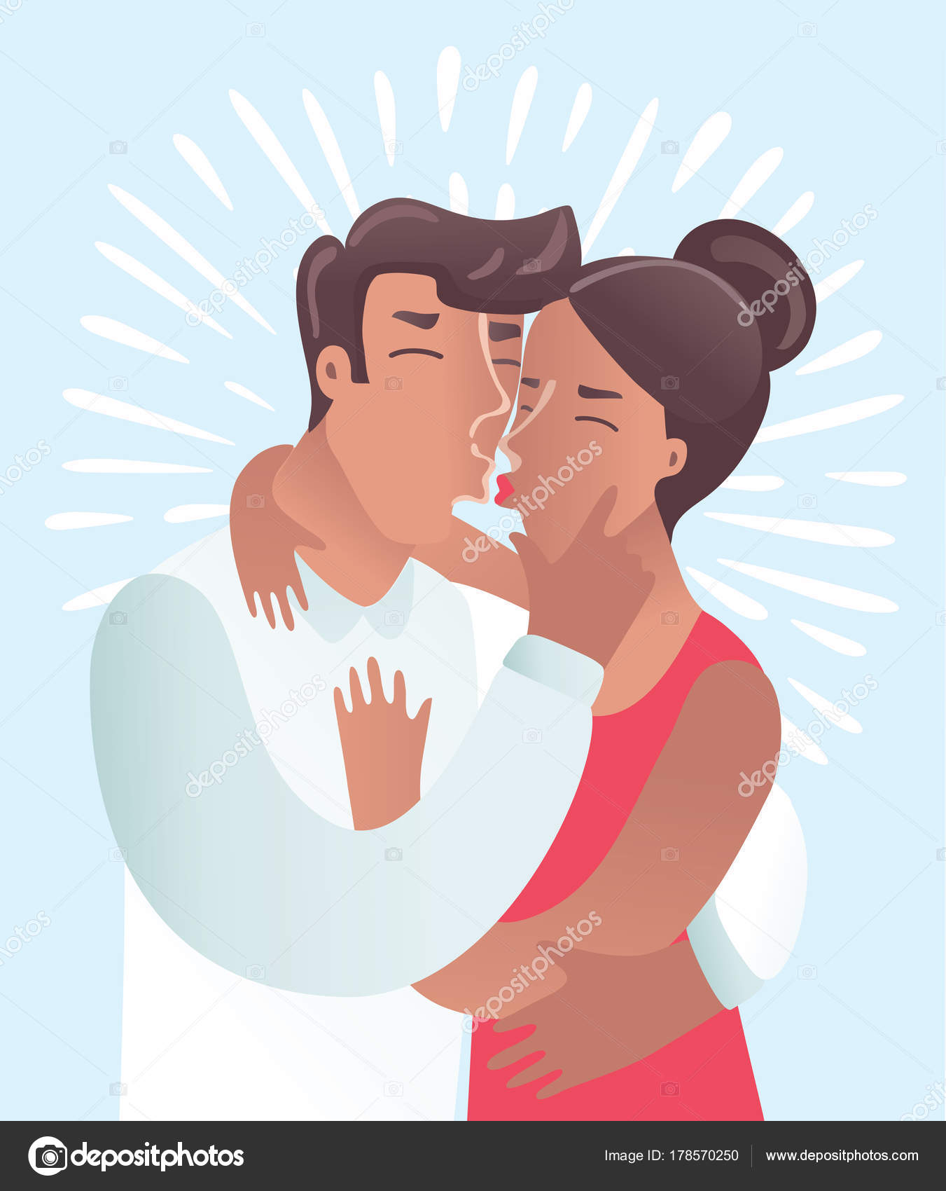 白い背景の上のカップルのキスのロマンチックなイラストです