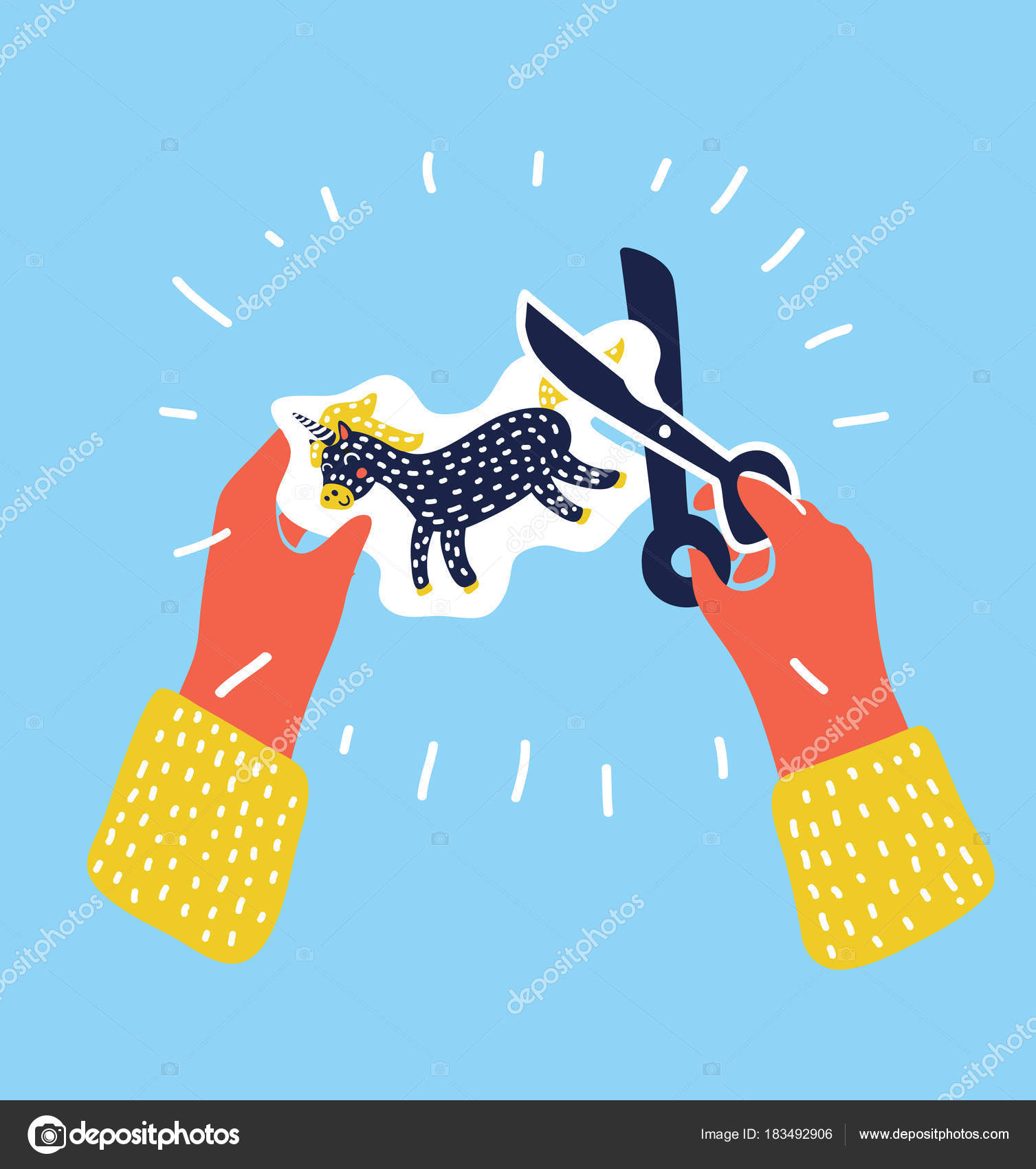 two hands cutting paper with scissors for applique elementary school art class vector illustration