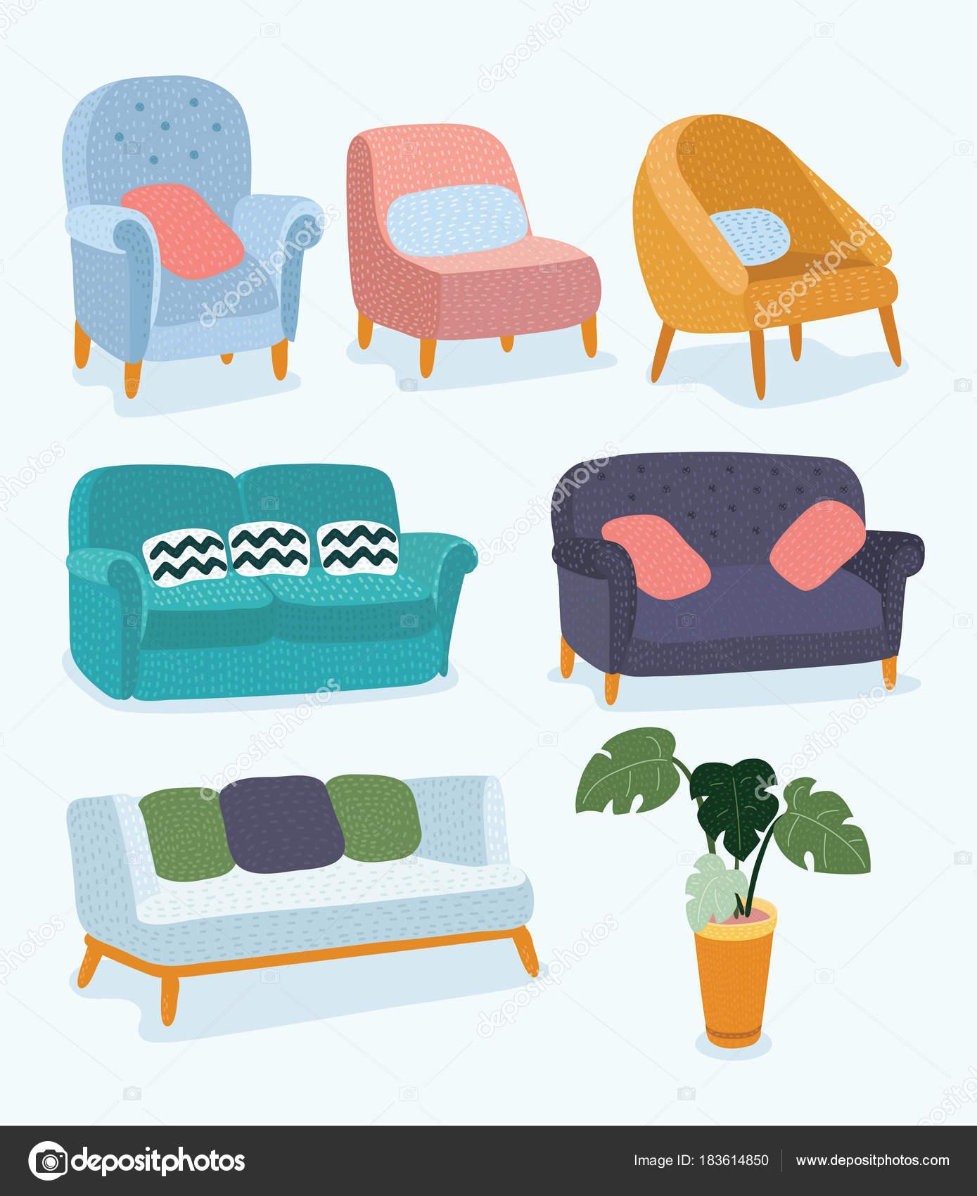 Concepto de diseño de muebles sala de estar con elementos interiores ...