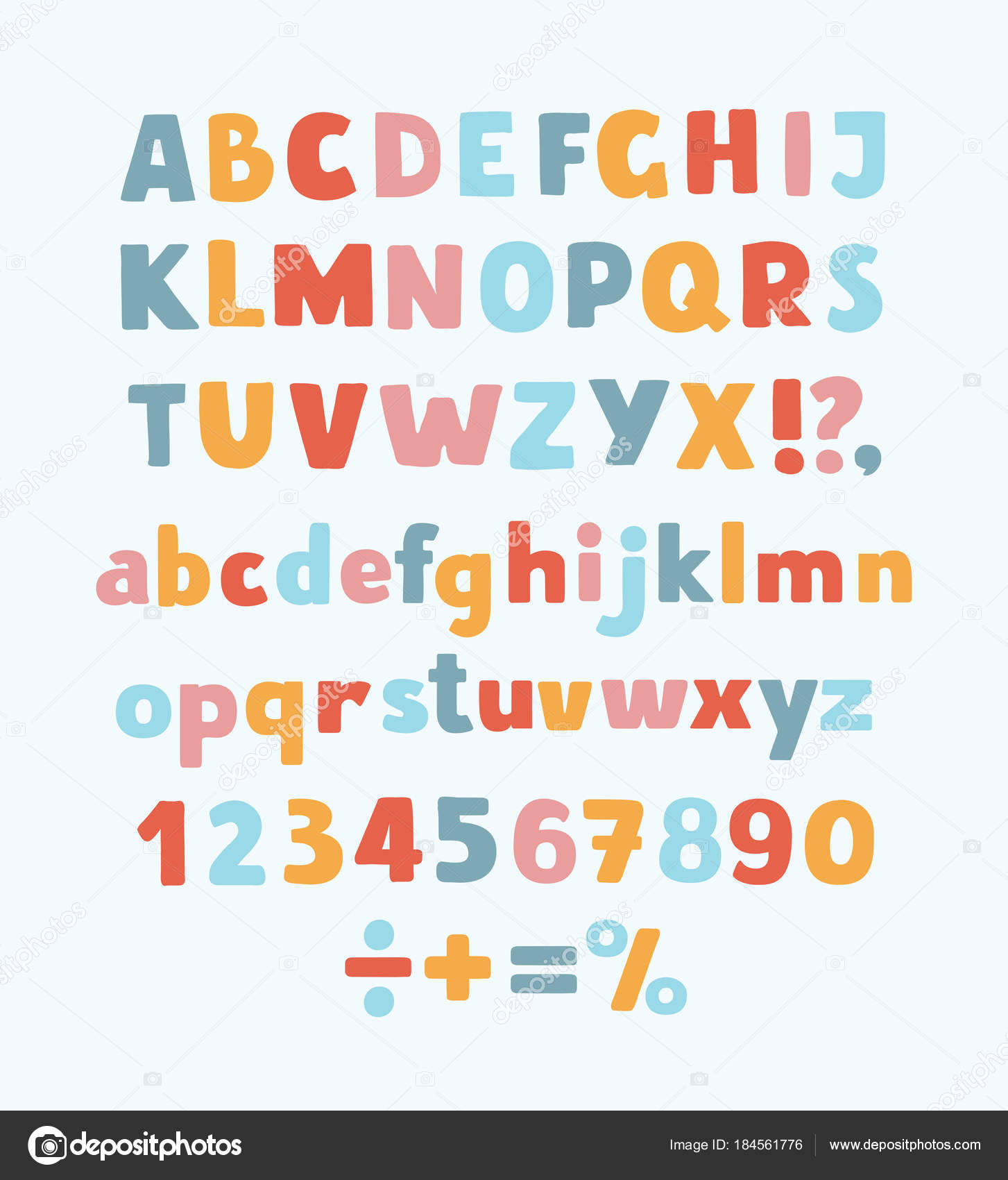 Multicolored kids vector font letters numbers and orthographic vector cartoon typeface multicolored kids vector abc letters numbers and symbols upprcase and lowercase cute childish signs vector by cosmaa buycottarizona Images