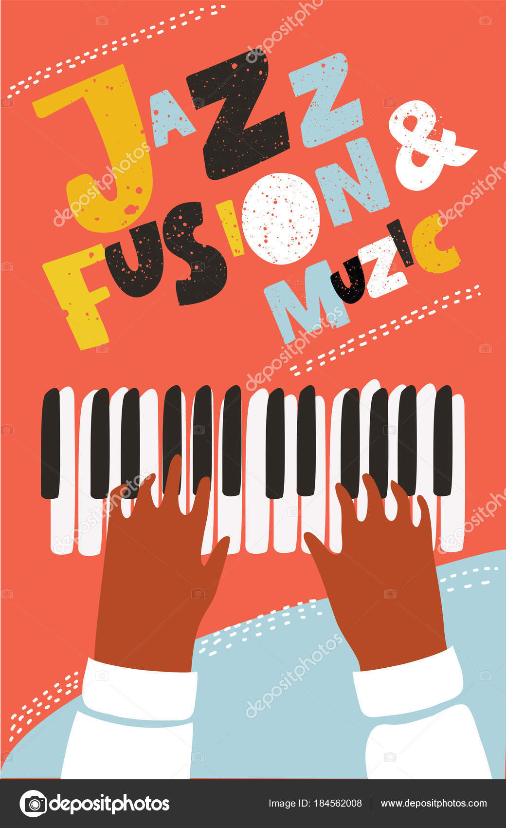 Vector Colorful Live Concept Of Modern Music Poster With Illustration Human Hands Playing On Piano Keys Print Design Template For Summer Concert Party