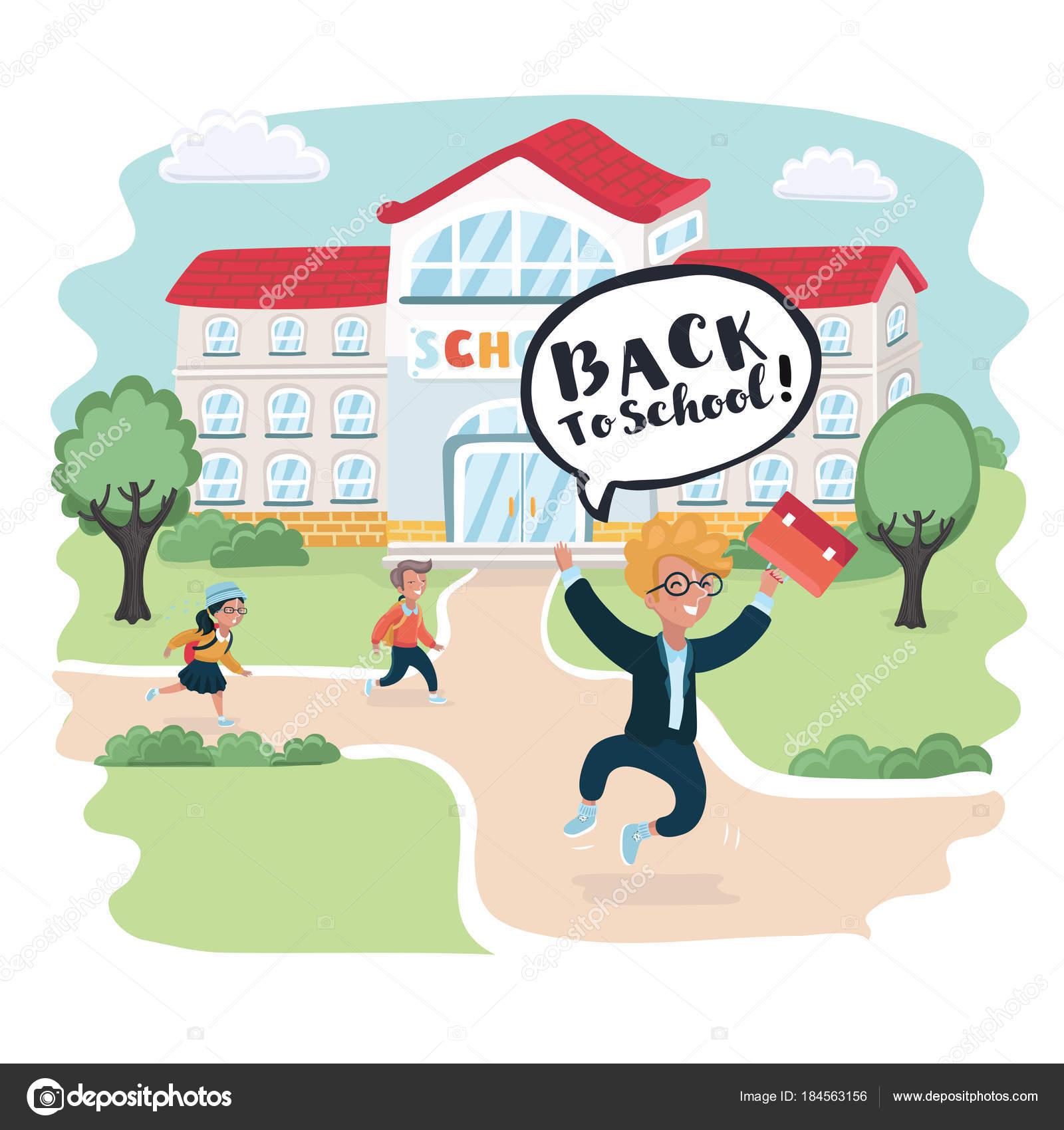 戻る学校へようこそ!かわいい学校の子供たち — ストックベクター