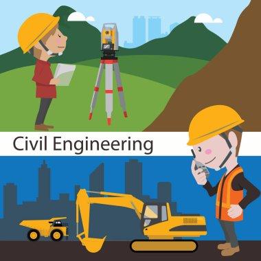 Construction civil engineering land survey engineer vector illus