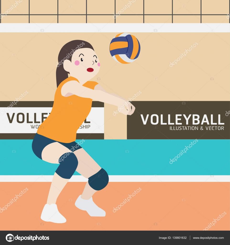 Volejbal Atleticke Sportovni Vektor Kreslene Ilustrace Sada Stock