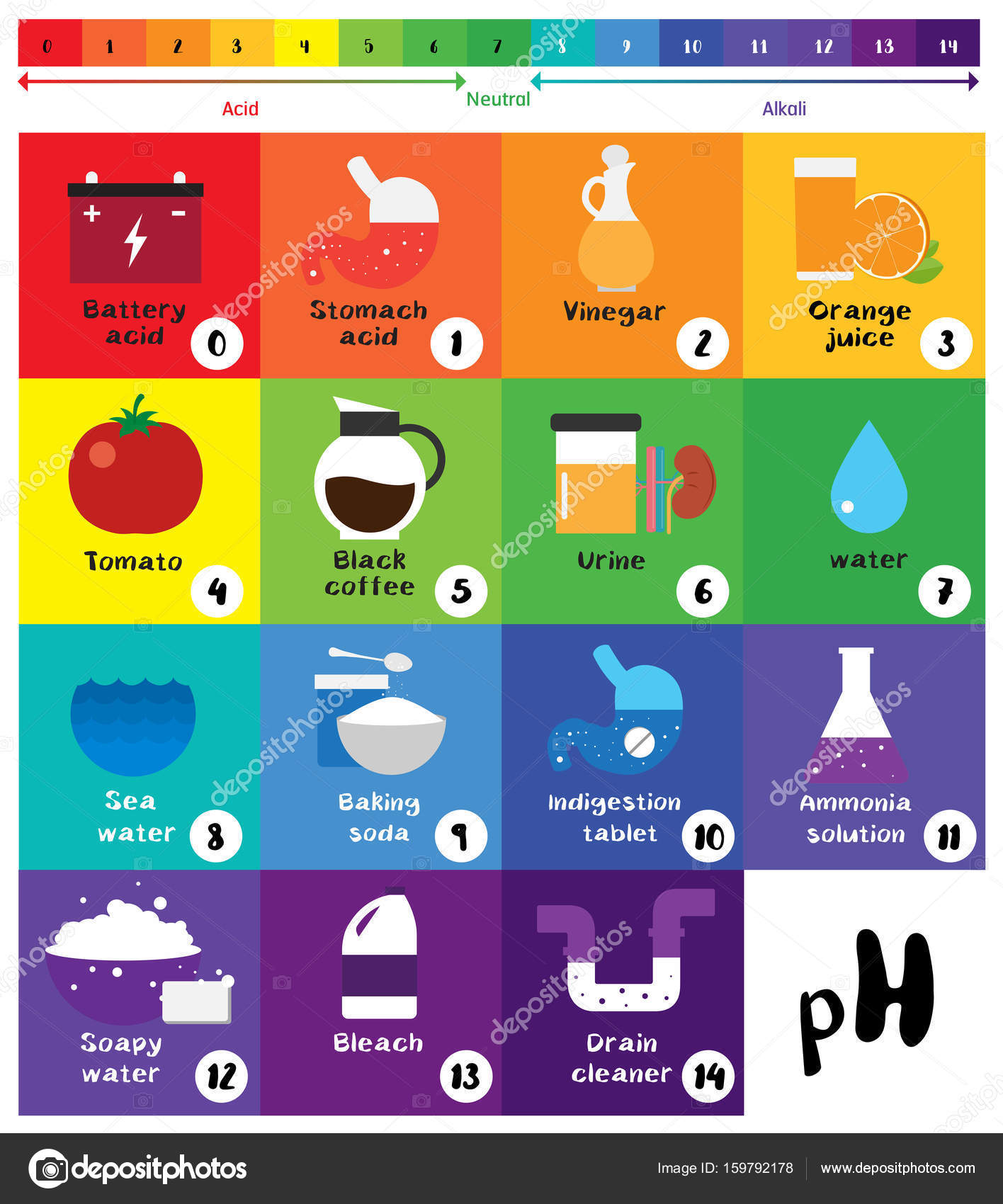 The ph scale universal indicator ph color chart diagram stock the ph scale universal indicator ph color chart diagram stock vector 159792178 nvjuhfo Gallery