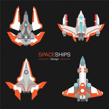 spaceships vector set