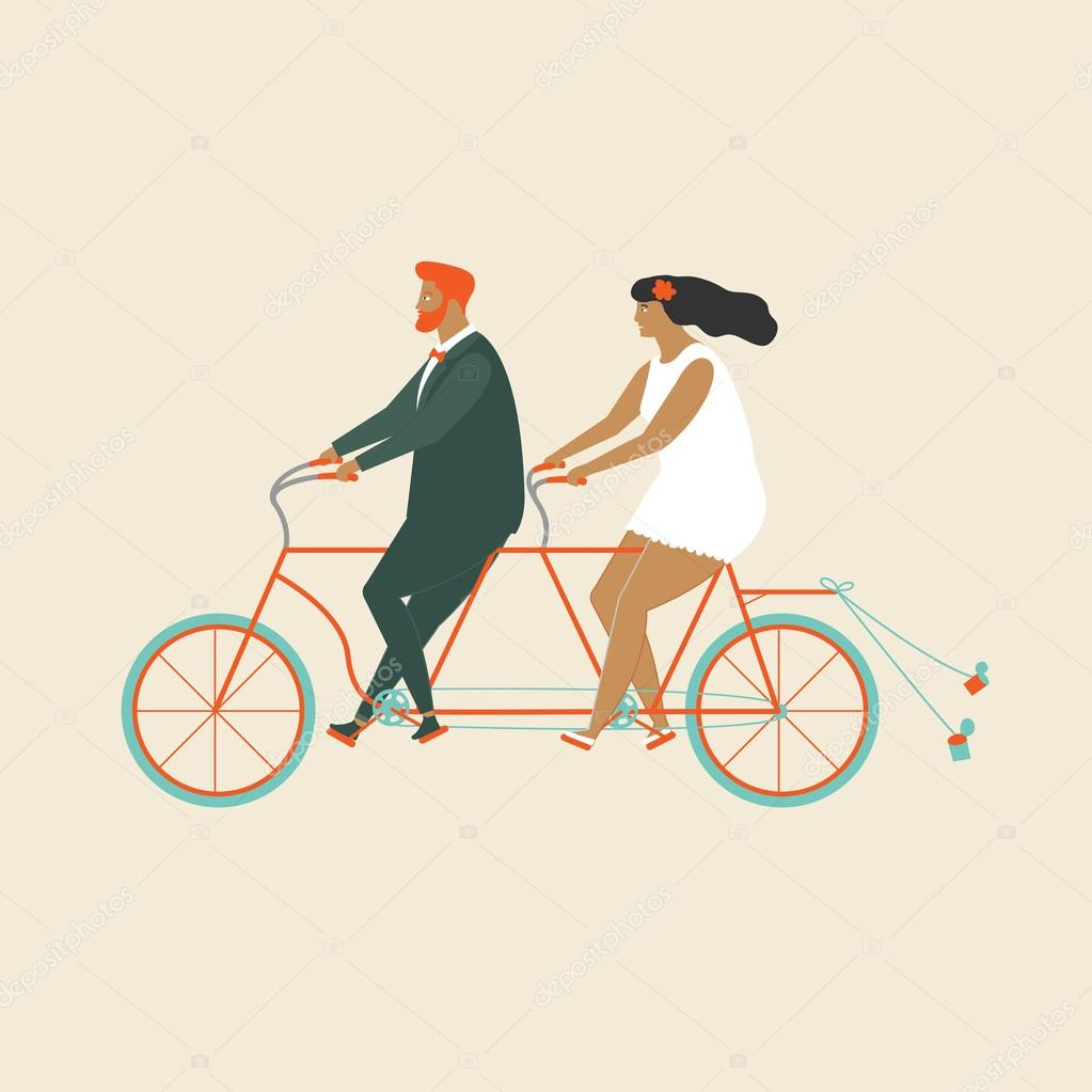 Wedding Invitation With Groom And Bride Riding Tandem Bicycle Stock Vector