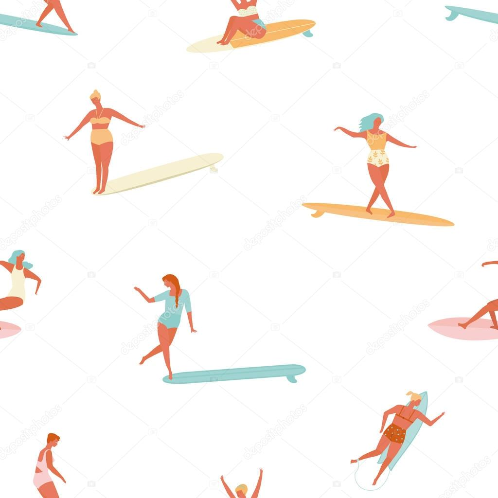 Girl surfer in bikini seamless pattern in vector. Flat style illustration. Summer beach surfing .