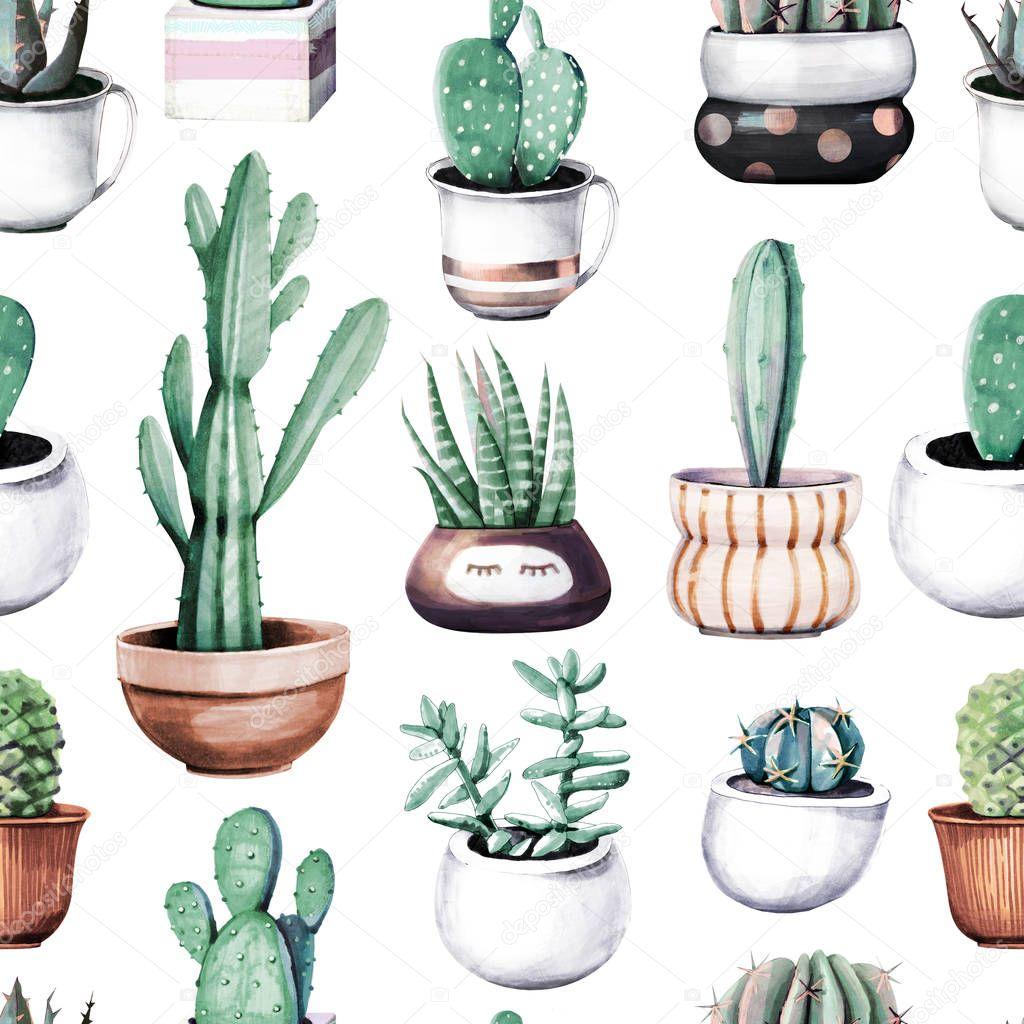 Watercolor cactus in pot tropical garden seamless pattern.