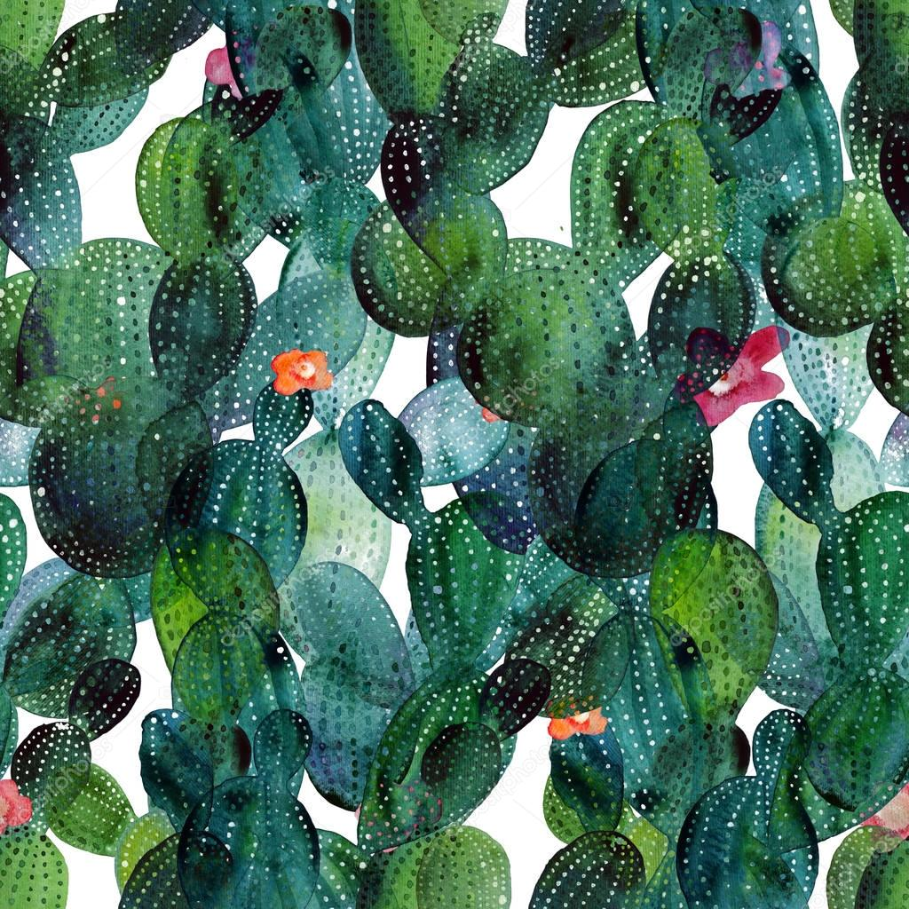 Watercolor cactus tropical garden seamless pattern.