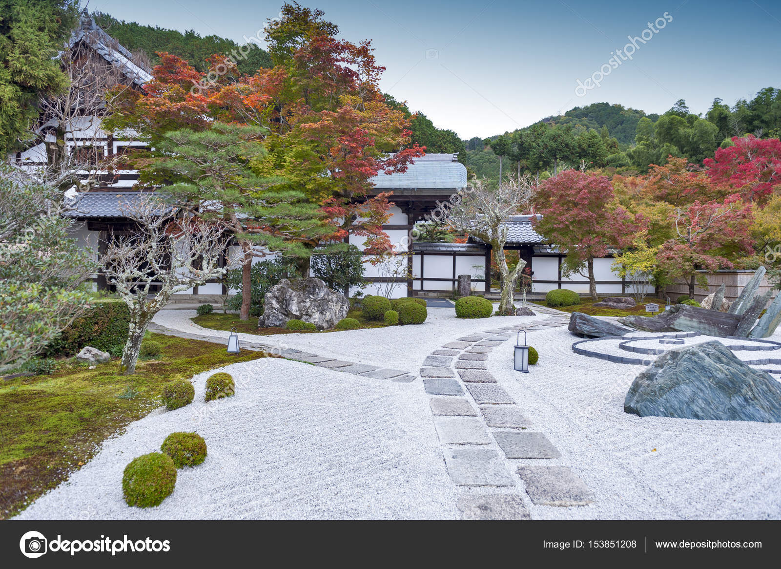 Japanischer Zen Garten Im Herbst Im Enkoji Tempel In Kyoto Japan