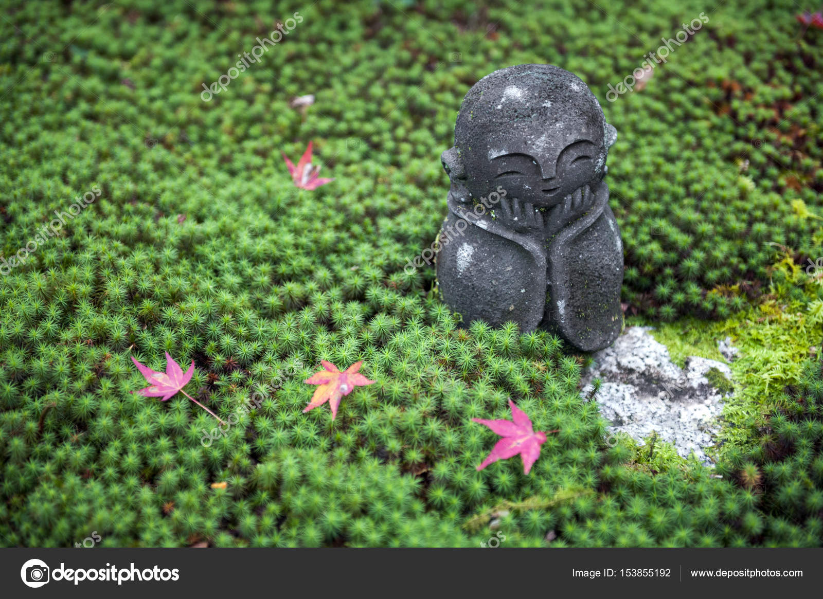 Stone Statue Of Jizo On Ground Covered By Green Star Moss And Red Maple  Leaves During Autumn In A Garden At Enkoji Temple In Kyoto, Japan U2014 Photo  By ...