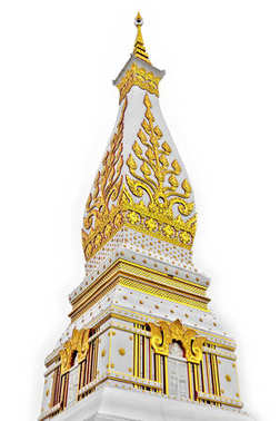 Temple of Phra That Phanom Stupa containing Buddha's breast bone, one of the most important Theravada Buddhist structures in the region, located in in Nakhon Phanom Province, northeastern Thailand. Isolated white background.