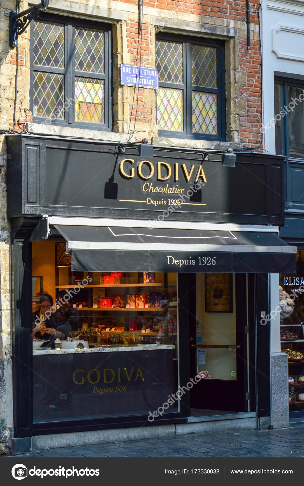 Brussels, Belgium - April 2015: Outlet of Godiva, a manufacturer of ...