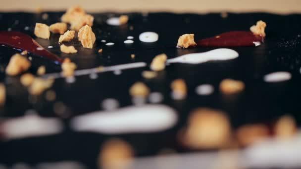 Detailní části čokoládový zákusek v restauraci