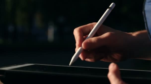 Artist drawing and scaling his scetch on tablet using stylus at park