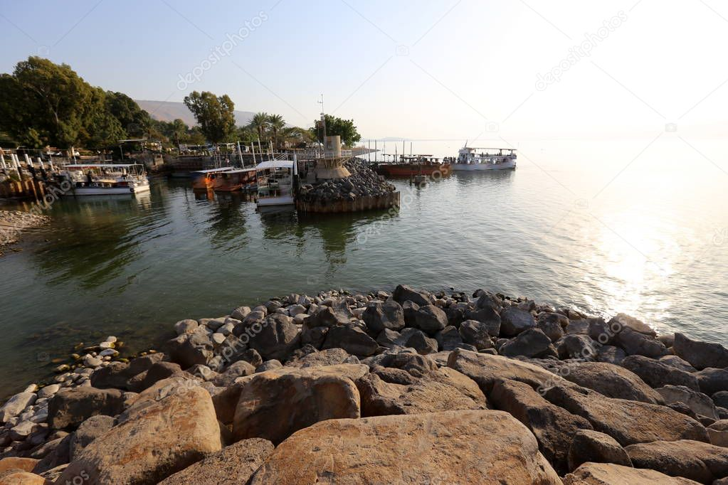 berth on the shore of the Sea of Galilee in the kibbutz Ein Gev in Israel