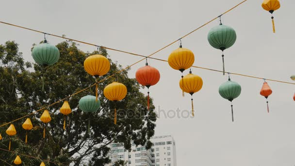Vietnamese lanterns hanging in the afternoon on the Ho Chi Minh Street.
