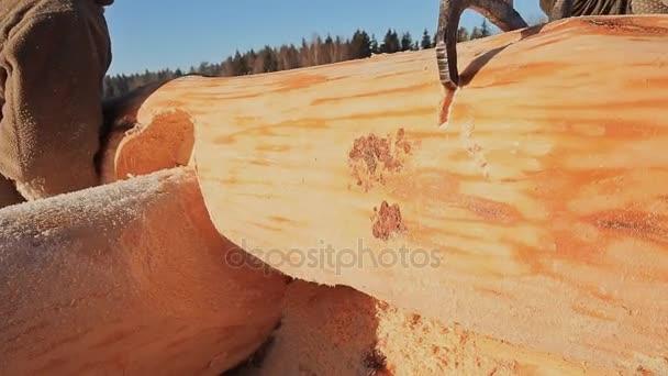 Práce tesařů připojení protokolů. Kanadský úhel zdiva. Kanadský styl. Dřevěný dům z břevna úpraveného cylindroidem