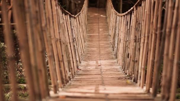 Bambus, visící most přes řeku v tropickém lese, Bohol, Filipíny