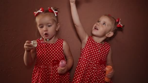 Two beautiful twin sisters in delightful red dresses blow soap bubbles together in the room of the house.