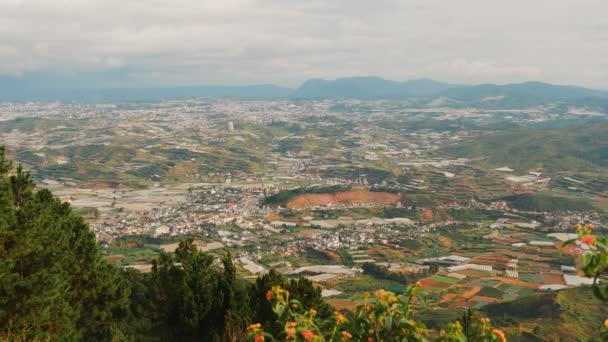 View from Lang Biang Mountain. Landscape at Mount Langbiang, place of excursions, central highlands near Dalat, Vietnam, Asia