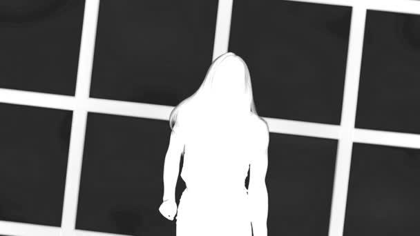 Silueta dívka s dlouhou vlající vlasy v profil na bílém pozadí s oknem, mřížky. Zpomalený pohyb