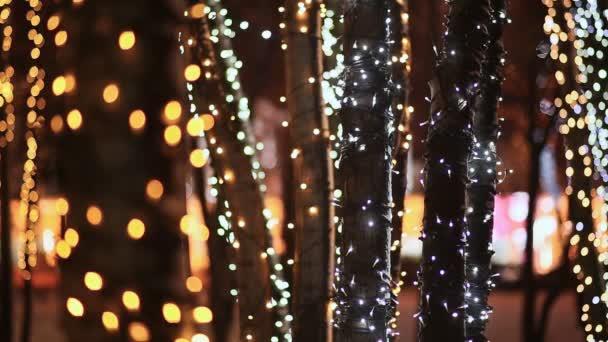 Natale. tronchi di alberi nellilluminazione incandescente festivo