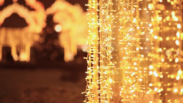 christmas luminous garlands in the streets of the night city moscow new year theme