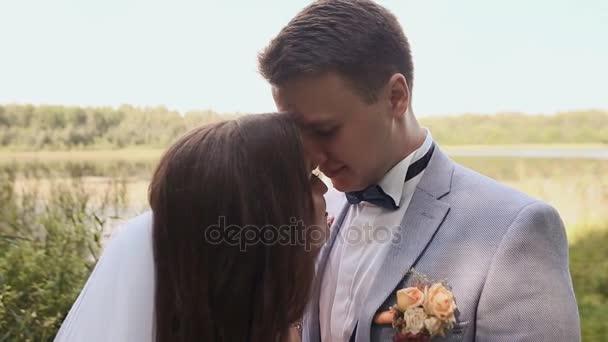 Eine schöne Braut und Bräutigam sind zusammen auf die Natur direkt am See. Sie sehen einander in die Augen mit Zärtlichkeit. Die Braut behebt eine Fliege. Hauch von Liebe. Happy together