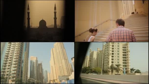 Dubai, Emirati Arabi Uniti - 20 agosto 2014: Un brillante collage dalle cornici dei paesaggi urbani Dubais