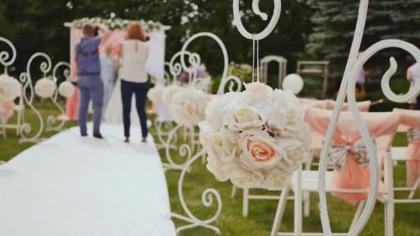 Wedding decorations for a festive ceremony in the open air wedding decorations for a festive ceremony in the open air ornaments on chairs the junglespirit Image collections